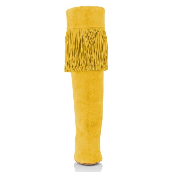 Yellow Suede Fringe Chunky Heel Boots Knee-high Boots image 4