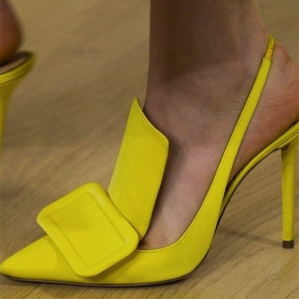 Yellow Satin Slingback Heels Pumps image 1