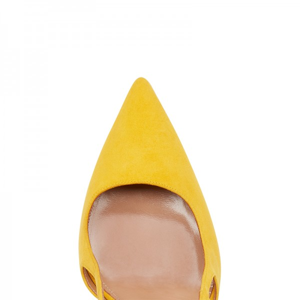 Yellow Suede Stiletto Heel Slingback Pumps image 3