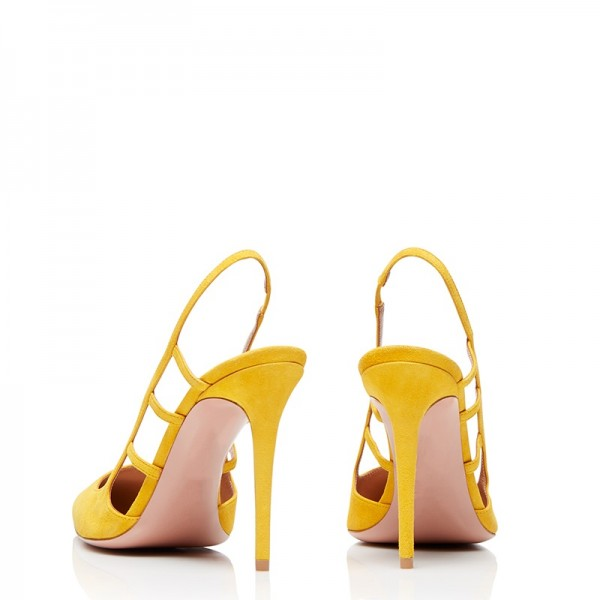 Yellow Suede Stiletto Heel Slingback Pumps image 2