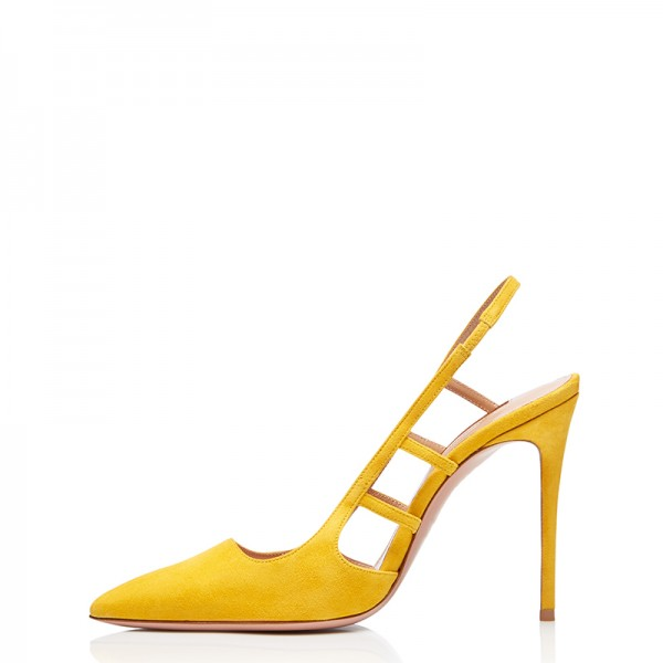 Yellow Suede Stiletto Heel Slingback Pumps image 4