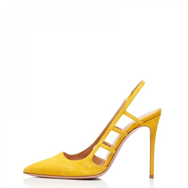 Yellow Suede Stiletto Heel Slingback Pumps image 1