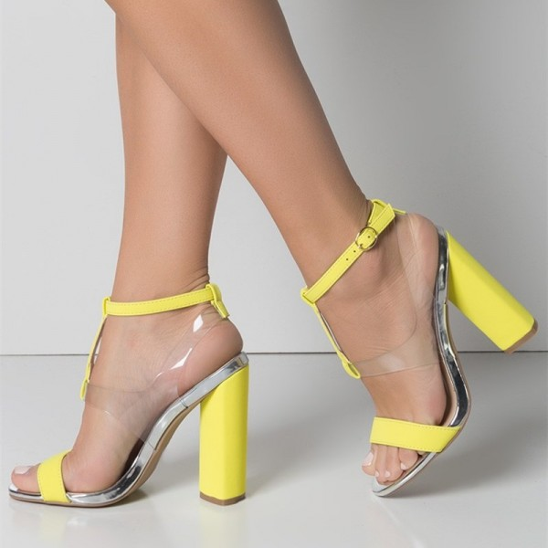 Yellow Transparent Chunky Heel Sandals Clear Heels Slingback Sandals image  1 ...