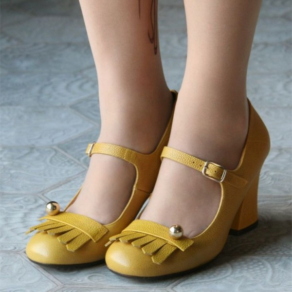 Yellow Mary Jane Shoes Chunky Heels Fringe Vintage Shoes image 2