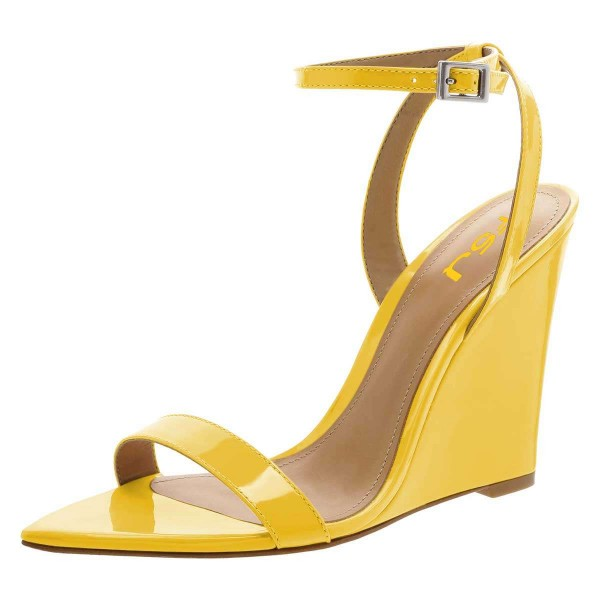 Yellow Wedge Heels Patent Leather Ankle