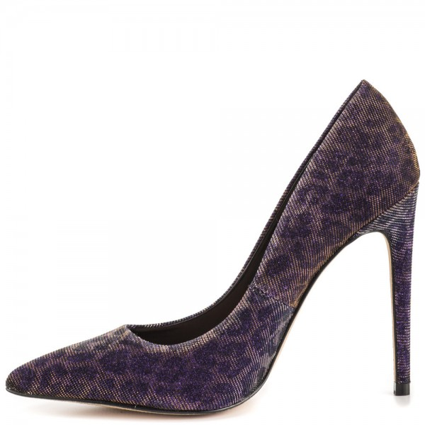 Purple Leopard Print Heels Pointy Toe Stiletto Heel Animal Print Pumps image 3