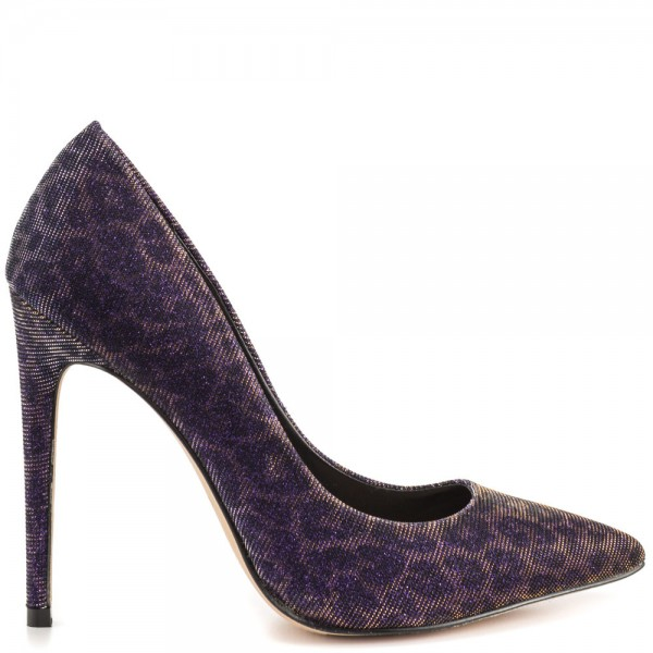 Purple Leopard Print Heels Pointy Toe Stiletto Heel Animal Print Pumps image 2