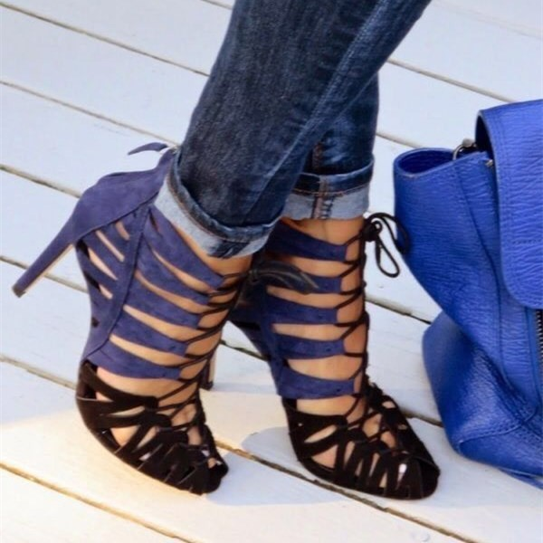 Blue and Dark Brown Lace up Sandals Suede Stiletto Heels for Women image 4
