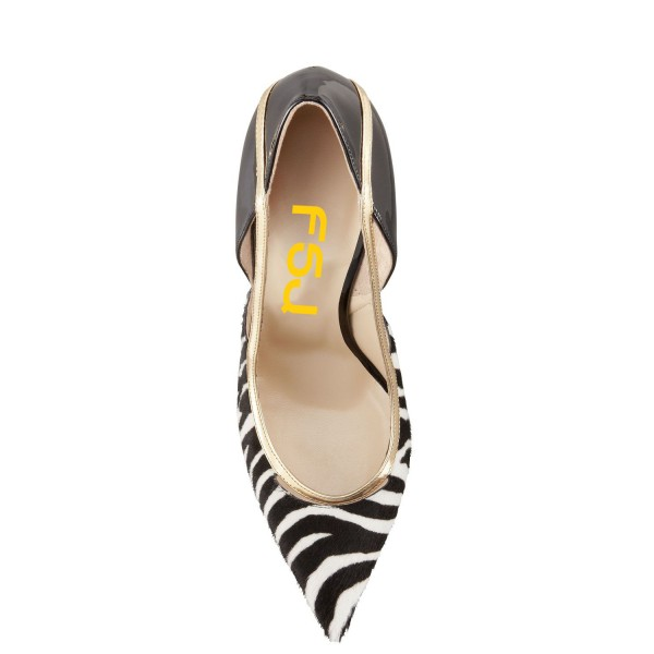 Black and White Heels Pointy Toe Zebra Stiletto Heels Pumps image 4