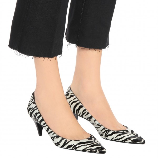 Black and White Zebra Pointy Toe Cone Heels Pumps Office Shoes image 2