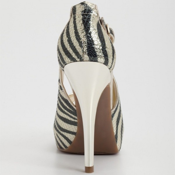 Champagne Zebra Print Sequined Peep Toe Heels Cut out Platform Pumps image 2