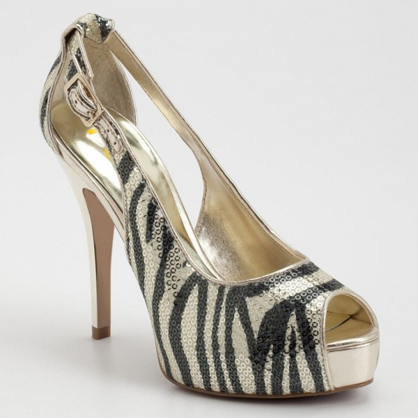 Champagne Zebra Print Sequined Peep Toe Heels Cut out Platform Pumps image 4