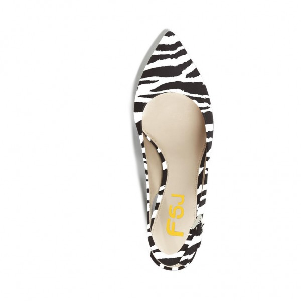 Zebra Slingback Pumps Chunky Heels Office Shoes image 2