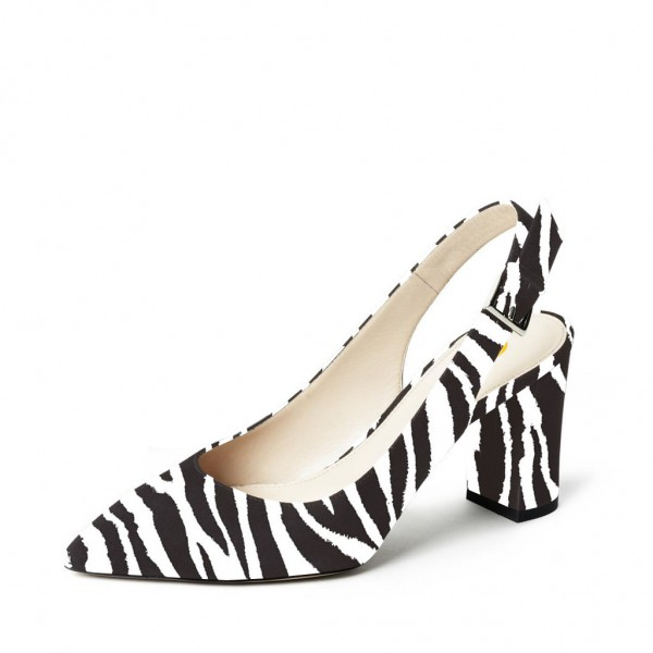 Zebra Slingback Pumps Chunky Heels Office Shoes image 1