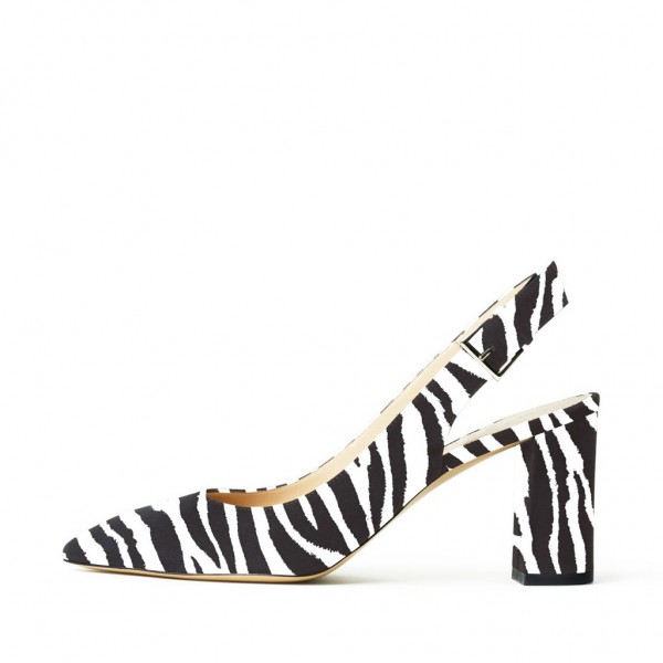 Zebra Slingback Pumps Chunky Heels Office Shoes image 3