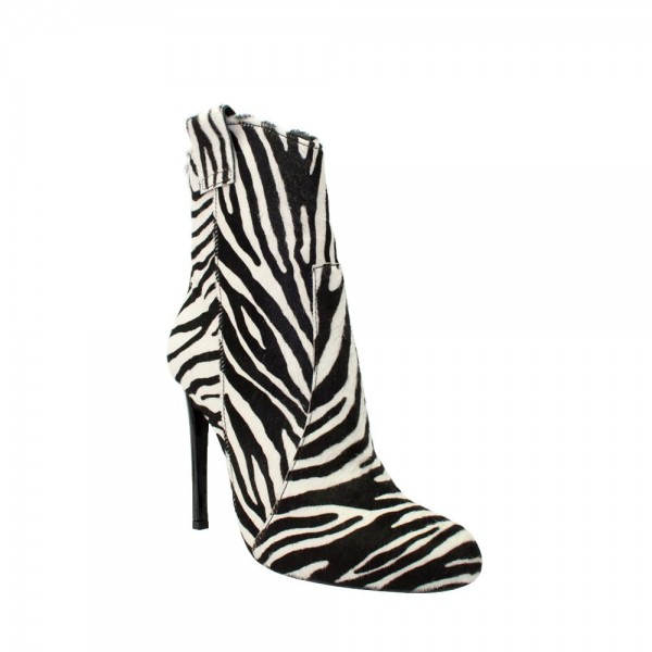 Black and White Zebra Horsehair Stiletto Boots Round Toe Ankle Booties image 2