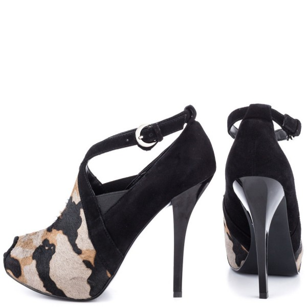 Leopard Print Heels Key Hole Suede Stiletto Heels Pumps image 3