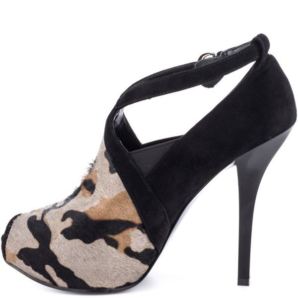 Leopard Print Heels Key Hole Suede Stiletto Heels Pumps image 2