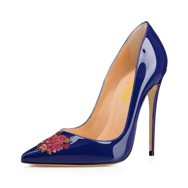 Women's Navy Pointed Toe Flower Office Heels Pumps image 1