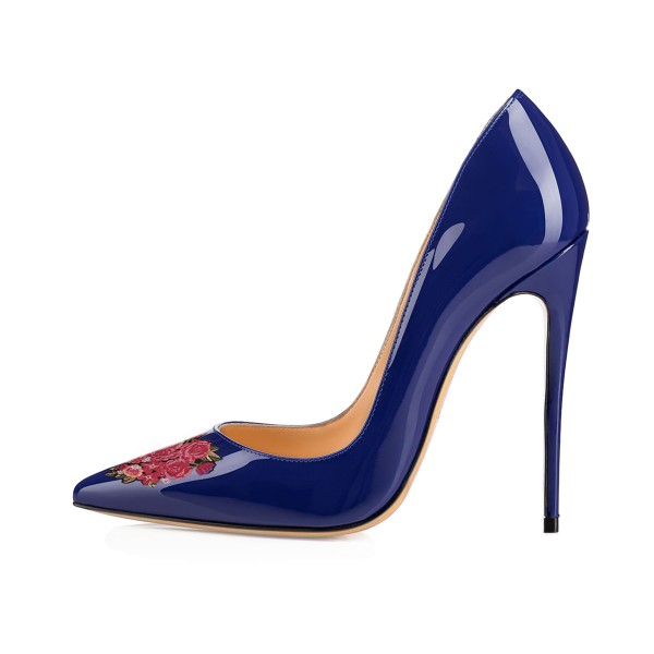 Women's Navy Pointed Toe Flower Office Heels Pumps image 3