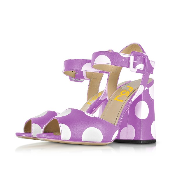 Purple Polka Dots Block Heel Sandals Peep Toe Heels image 1
