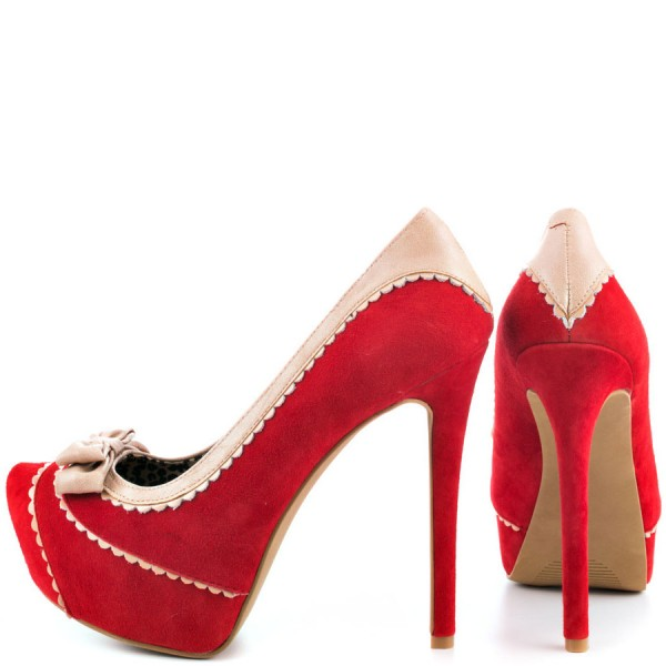 Women's Red Bow Leopard Stiletto Pumps Platform Heels  image 2