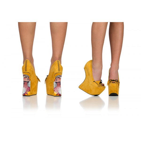 Yellow Closed Toe Wedges Fringe Suede Platform Pumps image 2