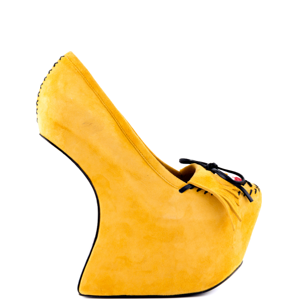 Yellow Closed Toe Wedges Fringe Suede Platform Pumps image 4