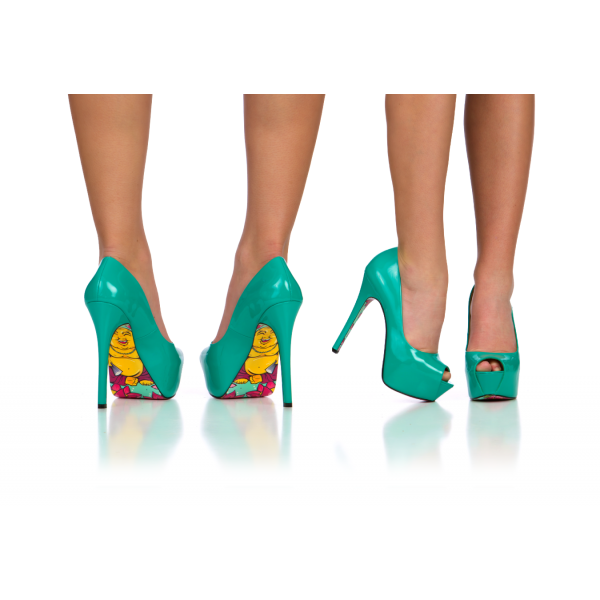 Teal Shoes Peep Toe Heels Patent Leather Stiletto Heel Pumps image 3