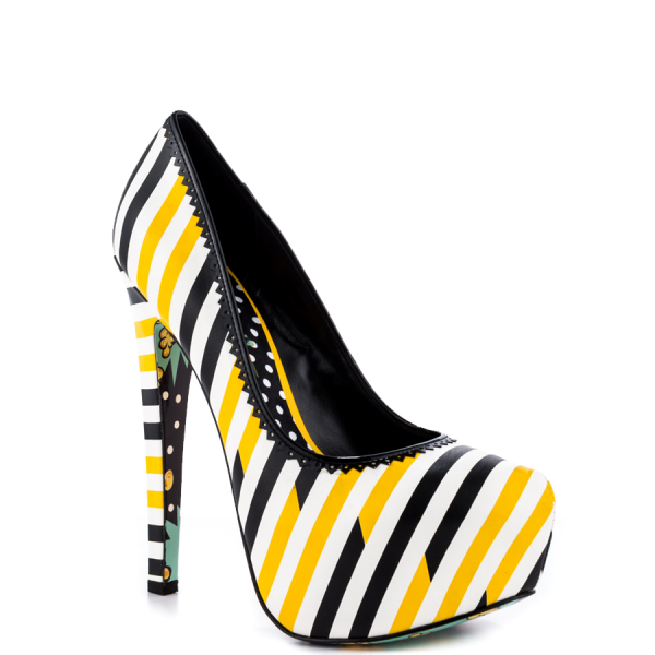 Women's Yellow And Black Floral Print Platform Heels Almond Toe Stiletto Heels image 3