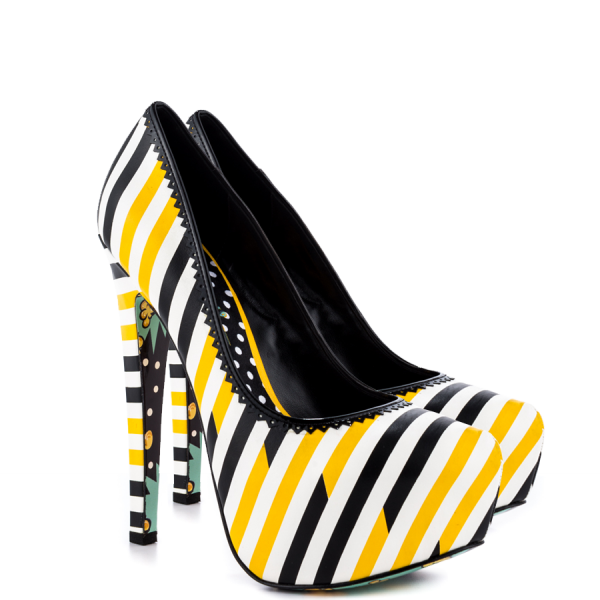 Women's Yellow And Black Floral Print Platform Heels Almond Toe Stiletto Heels image 5