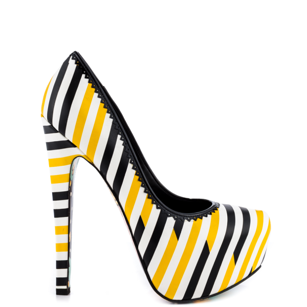 Women's Yellow And Black Floral Print Platform Heels Almond Toe Stiletto Heels image 4