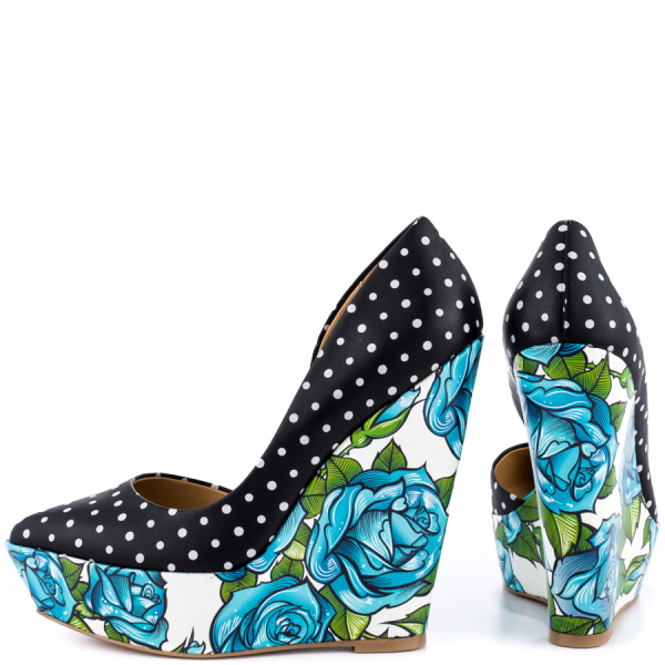 Black and White Polka Dots Floral Heels Platform Closed Toe Wedges image 1