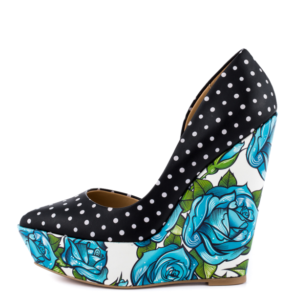 Black and White Polka Dots Floral Heels Platform Closed Toe Wedges image 3