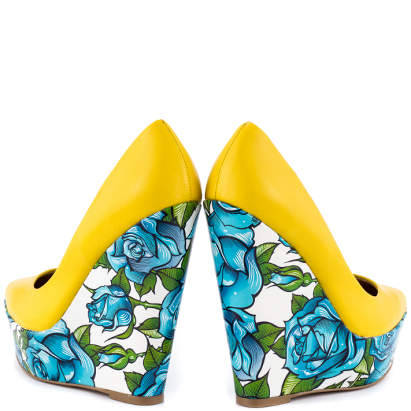 Yellow Floral Heels Closed Toe Wedges Platform D'orsay Pumps  image 4