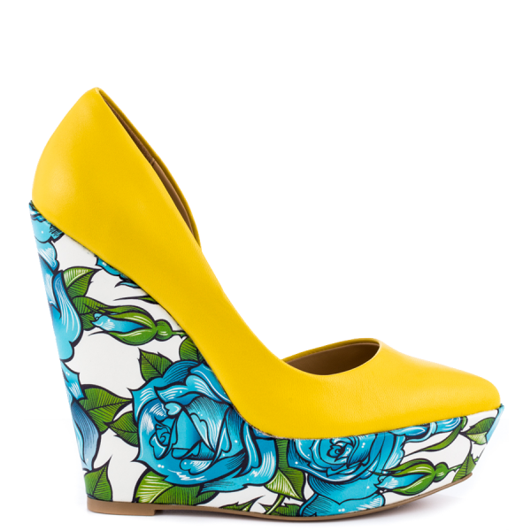 Yellow Floral Heels Closed Toe Wedges Platform D'orsay Pumps  image 2