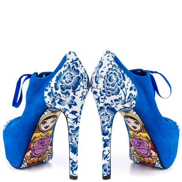 Royal Blue Lace up Boots Matryoshka Doll Print Ankle Booties image 1