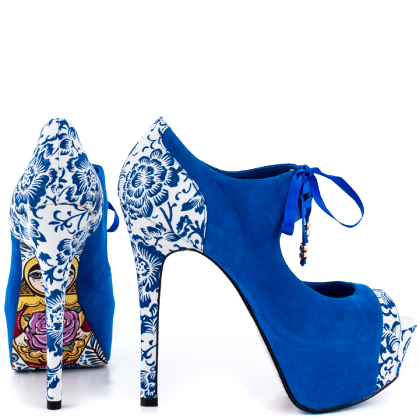 Royal Blue Lace up Boots Matryoshka Doll Print Ankle Booties image 2