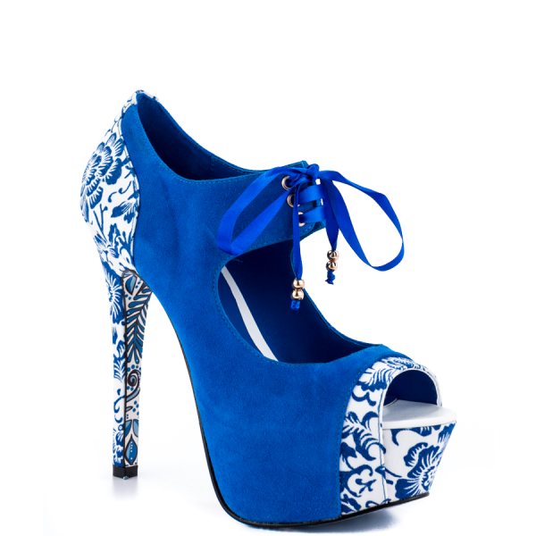 Royal Blue Lace up Boots Matryoshka Doll Print Ankle Booties image 3
