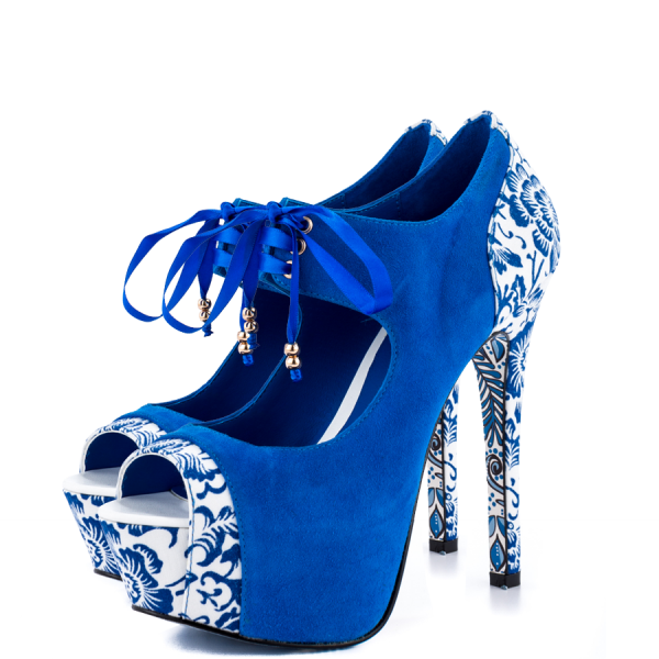Royal Blue Lace up Boots Matryoshka Doll Print Ankle Booties image 4