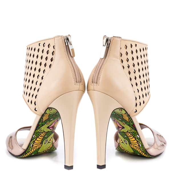 Nude And Champagne Ankle Strap Sandals Stiletto Heels Pumps image 2