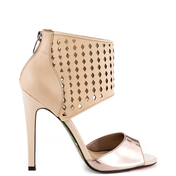 Nude And Champagne Ankle Strap Sandals Stiletto Heels Pumps image 3