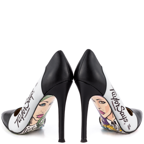 Women's Black And White Floral Stiletto Heels Pointy Toe Pumps image 2