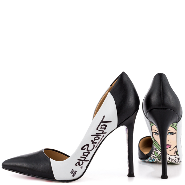 Women's Black And White Floral Stiletto Heels Pointy Toe Pumps image 1