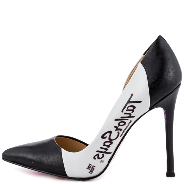 Women's Black And White Floral Stiletto Heels Pointy Toe Pumps image 4