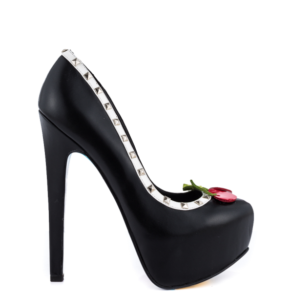 Women's Cute Black Rivets Platform Heels Floral Print Stiletto Heels Pumps image 5