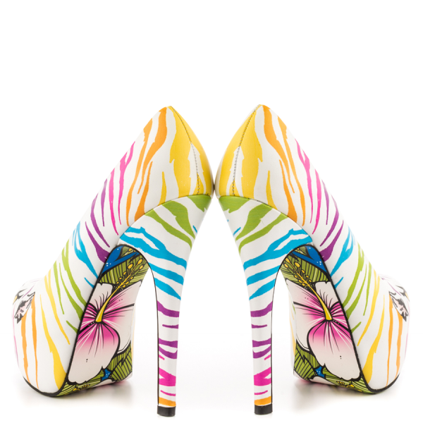 White Tiger-print Stiletto Heels Almond Toe Platform Shoes For Women image 4