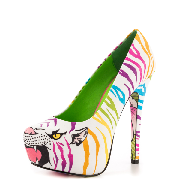 White Tiger-print Stiletto Heels Almond Toe Platform Shoes For Women image 5