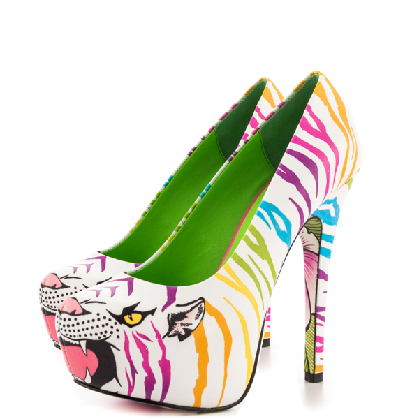 White Tiger-print Stiletto Heels Almond Toe Platform Shoes For Women image 1