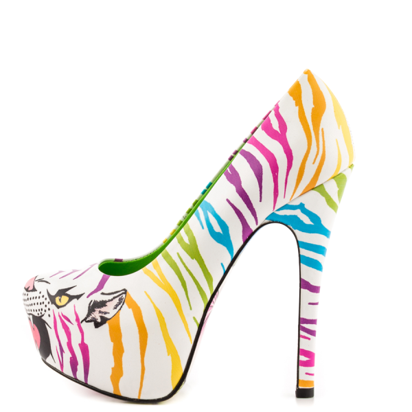 White Tiger-print Stiletto Heels Almond Toe Platform Shoes For Women image 6